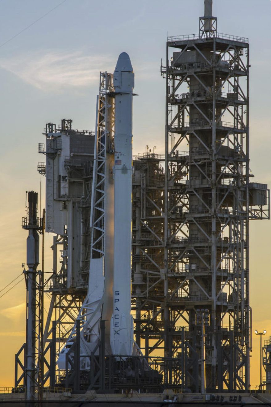 This photo provided by NASA shows a Space X Falcon9 rocket on the launch pad, Saturday, Feb. 18, 2017 at Launch Complex 39A  at the Kennedy Space Center in Cape Canaveral, Fla. SpaceX is launching space station supplies from the exact spot where Americans flew to the moon almost a half-century ago. The pad was last used in 2011 for NASA's final shuttle flight. This is SpaceX's first Florida launch since last summer's rocket explosion. (NASA via AP)