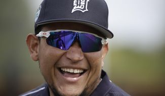 Detroit Tigers' Miguel Cabrera smiles during a spring training baseball workout Saturday, Feb. 18, 2017, in Lakeland, Fla. (AP Photo/Matt Rourke)