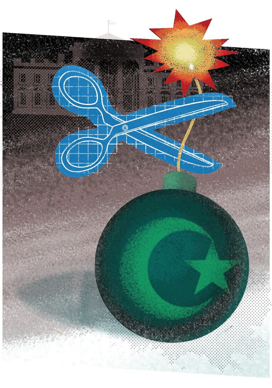 Illustration on plans to defeat radical Islam by Linas Garsys/The Washington Times