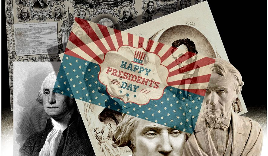 Illustration on the history of Presidents Day by Alexander Hunter/The Washington Times