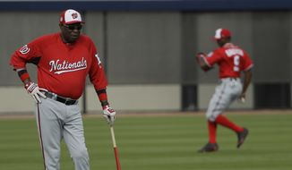 Washington Nationals manager Dusty Baker, left, watches players during a spring training baseball workout Sunday, Feb. 19, 2017, in West Palm Beach, Fla. (AP Photo/David J. Phillip)