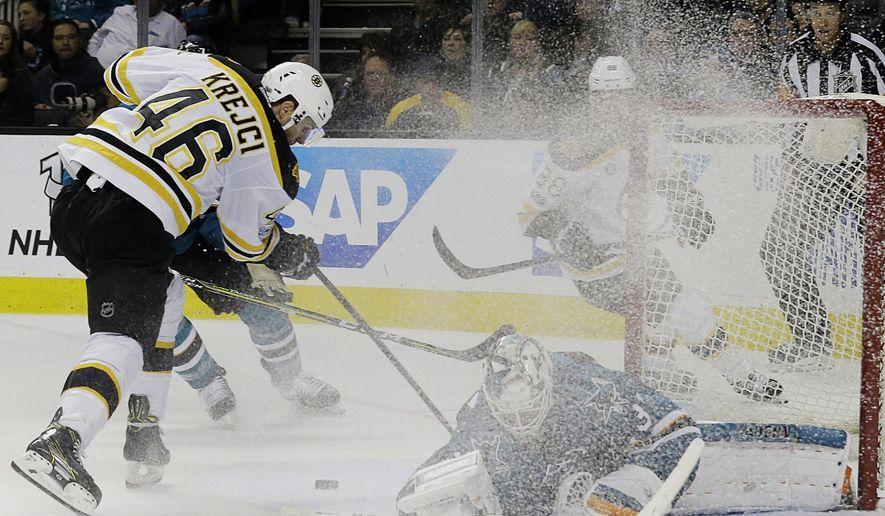 San Jose Sharks goalie Martin Jones, bottom, defends a shot by Boston Bruins center David Krejci (46), from the Czech Republic, during the second period of an NHL hockey game in San Jose, Calif., Sunday, Feb. 19, 2017. (AP Photo/Jeff Chiu)