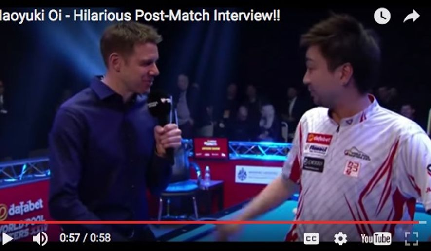 Japanese pool player Naoyuki Oi (right). (Image: Screen grab from YouTube channel/SportingMoments)