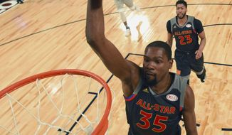 Western Conference forward Kevin Durant of the Golden State Warriors (35) goes to the basket during the second half of the NBA All-Star basketball game in New Orleans, Sunday, Feb. 19, 2017. (Bob Donnan/USA Today via AP, Pool)