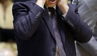 FILE - In this Feb. 18, 2017, file photo, Michigan State head coach Tom Izzo holds his head in the second half of an NCAA college basketball game against Purdue in West Lafayette, Ind.  Izzo is faced with one of the biggest challenges of his career, trying to get his young team to extend the program's NCAA tournament streak to 20. (AP Photo/Michael Conroy, File)