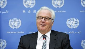 FILE - In this Friday, Aug. 22, 2014, file photo, Russian U.N. Ambassador Vitaly Churkin speaks during a news conference to discuss the crisis in Ukraine, at United Nations headquarters. Russian officials said Churkin died suddenly in New York City on Monday, Feb. 20, 2017. (AP Photo/John Minchillo, File)