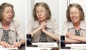FILE - In this combination of Aug. 15, 2006, file photos, Karla Gray, chief justice of the Montana Supreme Court sits in Helena, Mont. Gray, the first female chief justice of the Montana Supreme Court, died Sunday, Feb. 19, 2017, of cancer. (George Lane/Independent Record via AP, File)