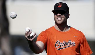 Baltimore Orioles' Chris Davis tosses the ball during a spring training baseball workout in Sarasota, Fla., Monday, Feb. 20, 2017. (AP Photo/David Goldman)