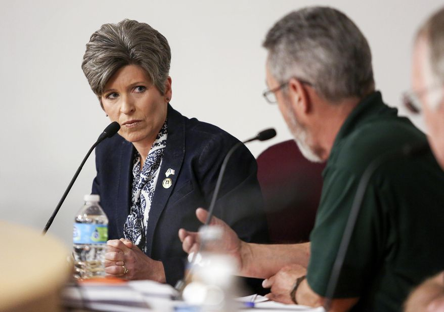 Sen. Joni Ernst, R-Iowa, left, listens to concerns during a veterans roundtable event at Maquoketa City Hall on Tuesday, Feb. 21, 2017, in Maquoketa, Iowa. Iowa's U.S. senators were met Tuesday with overflow crowds who pointedly questioned them about President Donald Trump's actions during his first month in office and other issues. Although Republican Sens. Charles Grassley and Ernst held meetings in small towns in northern and eastern Iowa, they drew big crowds. (Nicki Kohl/Telegraph Herald via AP)