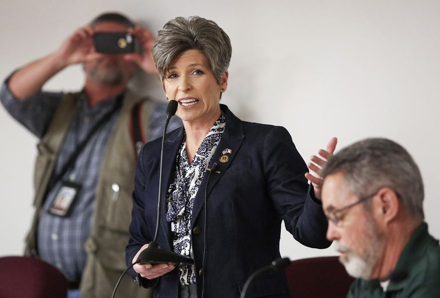 Sen. Joni Ernst, R-Iowa, speaks during a veterans roundtable event at Maquoketa City Hall on Tuesday, Feb. 21, 2017, in Maquoketa, Iowa. Iowa's U.S. senators were met Tuesday with overflow crowds who pointedly questioned them about President Donald Trump's actions during his first month in office and other issues. Although Republican Sens. Charles Grassley and Ernst held meetings in small towns in northern and eastern Iowa, they drew big crowds. (Nicki Kohl/Telegraph Herald via AP)