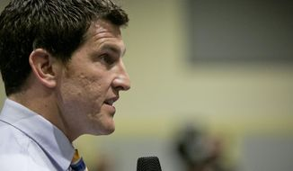 Rep. Scott Taylor during a town hall meeting at Kempsville High School in Virginia Beach, Va., Monday, Feb. 20, 2017. (Kristen Zeis/The Virginian-Pilot via AP) ** FILE **