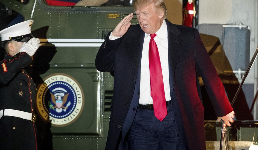 President Donald Trump arrives at the White House in Washington, Monday, Feb. 20, 2017. Trump returned from Palm Beach, Fla., on Monday after spending three weekends in a row at his Mara-a-Lago estate. (AP Photo/Andrew Harnik)