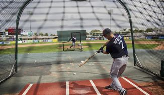 Minnesota Twins' Joe Mauer takes batting practice during a spring training baseball workout in Fort Myers, Fla., Tuesday, Feb. 21, 2017. (AP Photo/David Goldman)
