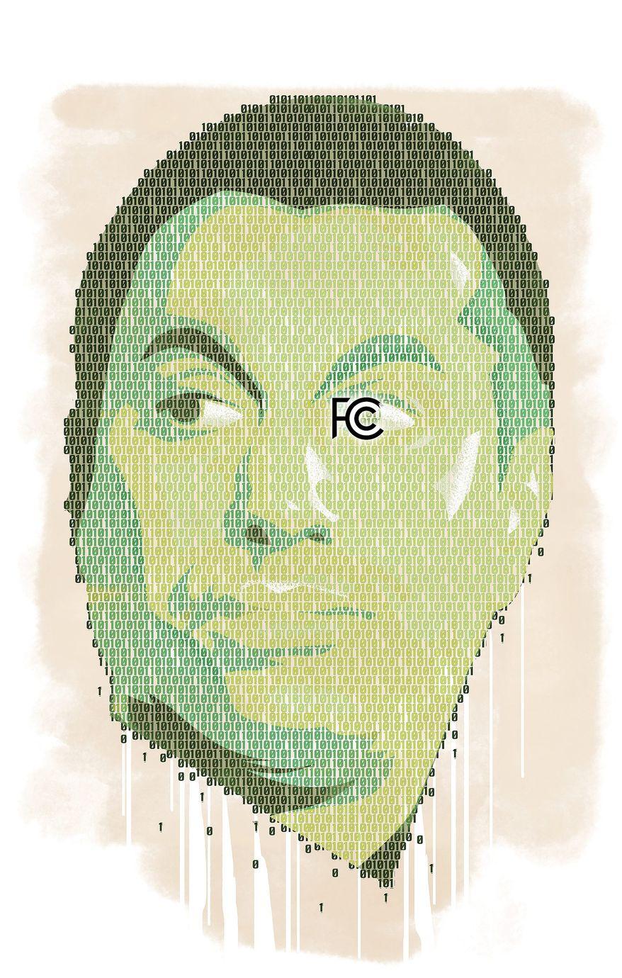 Illustration of Ajit Pai by Linas Garsys/The Washington Times