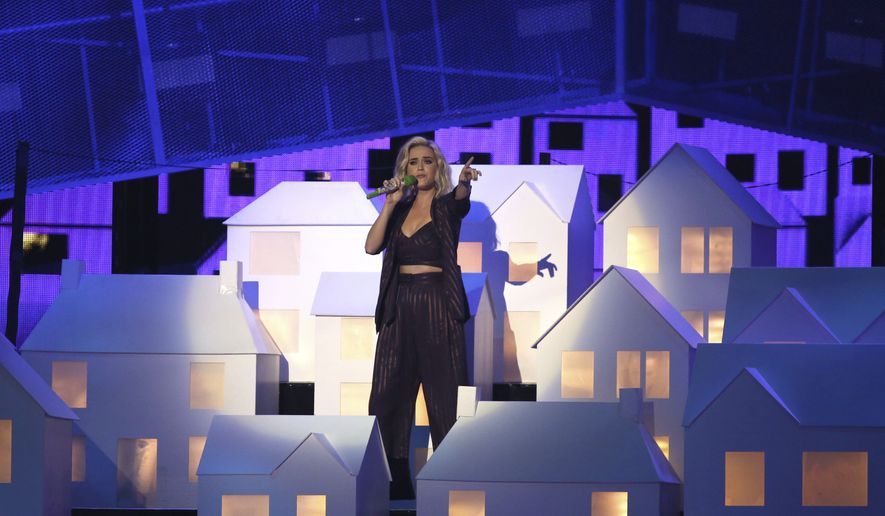 Singer Katy Perry performs on stage at the Brit Awards 2017 in London, Wednesday, Feb. 22, 2017. (Photo by Joel Ryan/Invision/AP)