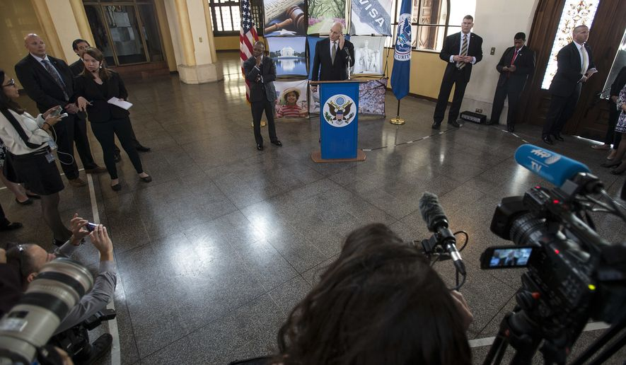 U.S. Secretary of Homeland Security John F. Kelly, center, gives a press conference at La Aurora Air Force Base in Guatemala City, Wednesday, Feb. 22, 2017. Kelly ends a two-day official visit and is traveling to Mexico next. (AP Photo/Moises Castillo)