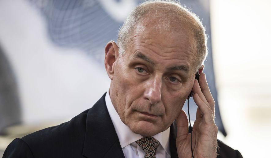 U.S. Secretary of Homeland Security John F. Kelly listens a question during a press conference at La Aurora Air Force Base in Guatemala City, Wednesday, Feb. 22, 2017. Kelly ends a two-day official visit and going to Mexico City. (AP Photo/Moises Castillo)