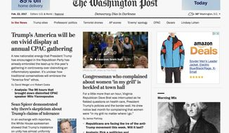 "The Washington Post website is seen in Washington, Wednesday, Feb. 22, 2017. The Post is featuring a new motto on the paper's website: ""Democracy Dies in Darkness."" The words now appear underneath the name of the paper on its website. They were not, however, in a similar place in the paper's print edition. Amazon.com founder and CEO Jeff Bezos used the phrase in an interview last year when asked to explain why he purchased the paper in 2013. (Washington Post via AP)"