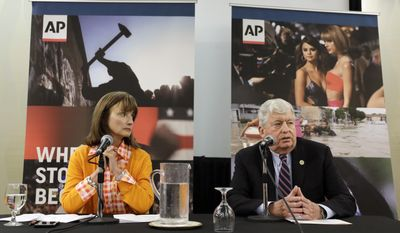 House Speaker Beth Harwell, R-Nashville, left, and Senate Speaker Randy McNally, R-Oak Ridge, answer questions during a legislative preview session sponsored by The Associated Press and the Tennessee Press Association Wednesday, Feb. 22, 2017, in Nashville, Tenn. (AP Photo/Mark Humphrey)
