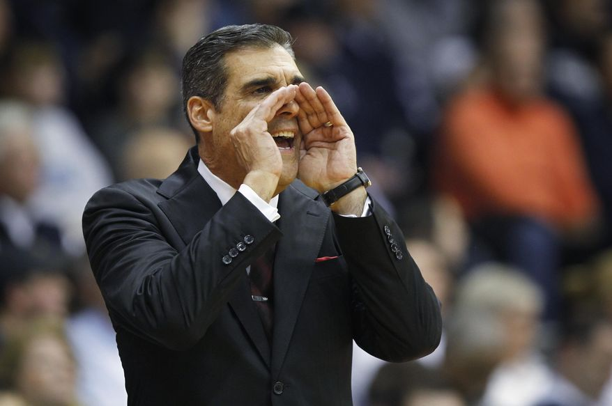 Villanova coach Jay Wright shouts from the sideline during the first half of the team's NCAA college basketball game against Butler, Wednesday, Feb. 22, 2017, in Villanova, Pa. (AP Photo/Laurence Kesterson)