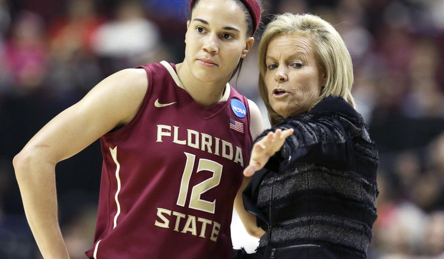 FILE- In this March 21, 2016 file photo, Florida State coach Sue Semrau, talks with Brittany Brown (12) during the second half of a college basketball game against Texas A&M in College Station, Texas. Florida State's seniors have the most wins as a class in school history but this is their last chance to get the No. 8 Seminoles to the Women's Final Four for the first time in school history. (AP Photo/Pat Sullivan, File)