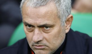 Manchester United's manager Jose Mourinho is seated on the bench prior to a Europa League round of 32 second leg soccer match between Saint Etienne and Manchester United at Geoffroy-Guichard stadium in Saint Etienne, France, Wednesday, Feb. 22, 2017. (AP Photo/Laurent Cipriani)
