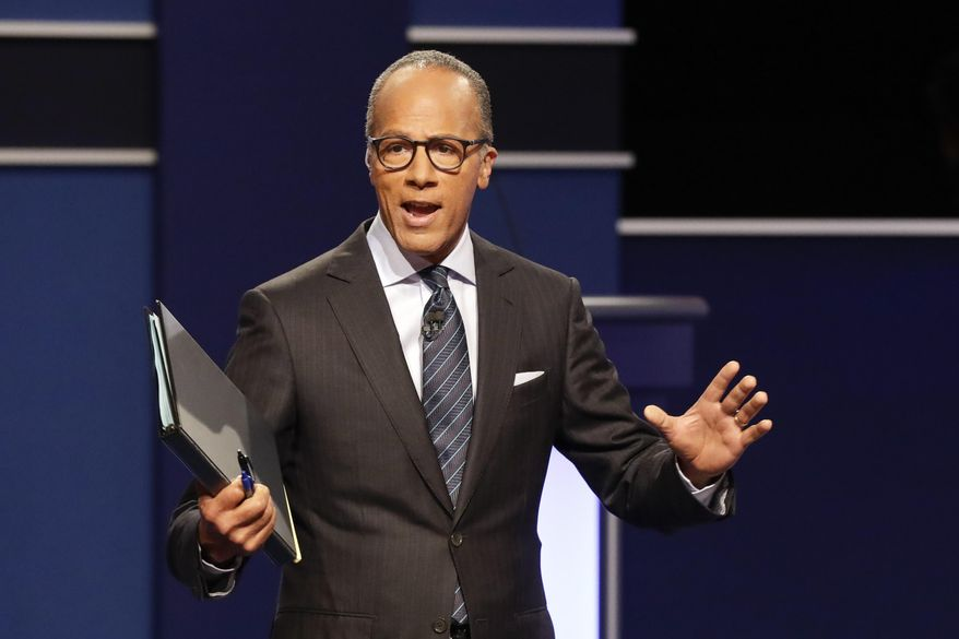 FILE - In this Sept. 26, 2016, file photo, moderator Lester Holt, anchor of NBC Nightly News, talks with audience before the presidential debate at Hofstra University in Hempstead, N.Y. On Feb. 21, 2017, Holt met a 7-year-old boy who mentioned him to a local news reporter in Portland, Oregon. (AP Photo/David Goldman, File)