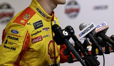 Joey Logano answers questions during NASCAR Daytona 500 media day at Daytona International Speedway, Wednesday, Feb. 22, 2017, in Daytona Beach, Fla. (AP Photo/John Raoux)