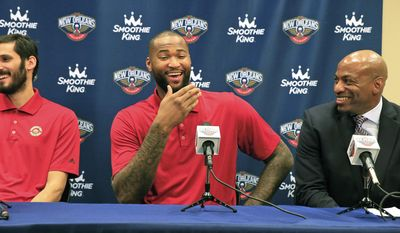 DeMarcus Cousins answers questions from the media as the New Orleans Pelicans announce that they've acquired him along with forward Omri Casspi during a news conference on Wednesday, Feb. 22, 2017 in Metairie, La.  Cousins maintained  that he liked Sacramento and initially wasn't happy about being traded Sunday night, but added he'd become frustrated with the lack of another elite talent on the Kings' roster.  (Ted Jackson /NOLA.com The Times-Picayune via AP)