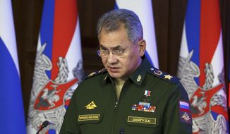 Russian Defense Minister Sergei Shougu speaks during a meeting with senior military officials in Moscow, Russia, in this Thursday, Dec. 22, 2016, file photo. Shoigu told lawmakers on Wednesday, Feb. 22, 2017, that the sweeping military modernization program will continue at a high pace this year. Amid tensions with the West, the Kremlin has continued to spend big on new weapons despite Russia's economic downturn. (Balashova Olga/Defence Ministry Pool Photo via AP, file)