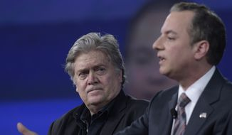 White House strategist Stephen Bannon listens at left as White House Chief of Staff Reince Priebus speaks as during the Conservative Political Action Conference (CPAC) in Oxon Hill, Md., Thursday, Feb. 23, 2017. (AP Photo/Susan Walsh)