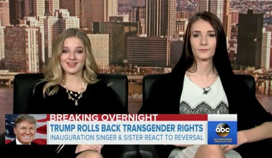 "Inauguration singer Jackie Evancho, 16, and her transgender sister Juliet, 18, are offering to meet with President Trump to ""enlighten"" him on LGBT rights. (ABC News)"