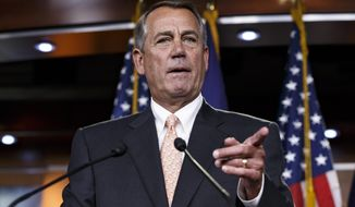 In this Feb. 26, 2015, file photo, then-House Speaker John Boehner of Ohio speaks during a news conference on Capitol Hill in Washington. (AP Photo/J. Scott Applewhite)