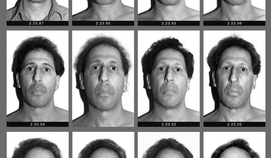 "This panel of black and white self-made photographs provided by Karl Baden shows Baden over the last three decades beginning Feb. 23, 1987, top left, through Feb. 21, 2017, lower right. The Boston College professor's ""Every Day"" project has chronicled his visage in nearly 11,000 photos in various locations with the same lighting and background each day for thirty years. He intends to do it the rest of his life. (Karl Baden via AP)"