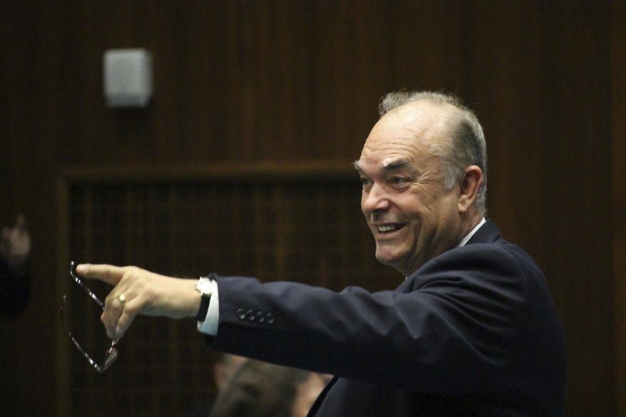 FILE - This Feb. 14, 2017 file photo shows Arizona state Rep. Don Shooter, R-Yuma, on the House floor at the Capitol in Phoenix. Shooter is sponsoring a bill that would change how signatures are gathered to qualify voter initiatives for the ballot. (AP Photo/Bob Christie,File)