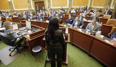 Rep. Mia Love, R-Utah, speaks to the Utah House of Representatives, at the Utah State Capitol Thursday, Feb. 23, 2017, in Salt Lake City. Love says that though she's opposed to abortion, she's running a proposal to make it easier to get birth control pills by allowing women to get it over-the-counter. Love told lawmakers that she feels it's her duty to protect life but it's not her job to tell people how to plan their families. (AP Photo/Rick Bowmer)