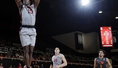 Stanford guard Marcus Allen (15) dunks against Oregon State during the second half of an NCAA college basketball game Wednesday, Feb. 22, 2017, in Stanford, Calif. (AP Photo/Marcio Jose Sanchez)p