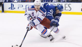 New York Rangers left wing Chris Kreider (20) turns away from Toronto Maple Leafs defenseman Nikita Zaitsev during the first period of an NHL hockey game, Thursday, Feb. 23, 2017 in Toronto. (Chris Young/The Canadian Press via AP)