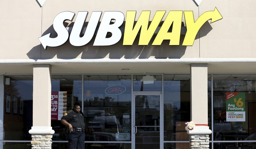"""Subway said Tuesday the report was """"absolutely false and misleading"""" and that its chicken is 100 percent white meat with seasonings, marinated and delivered to stores as a finished, cooked product. ( J. Patric Schneider/Houston Chronicle via AP)"""