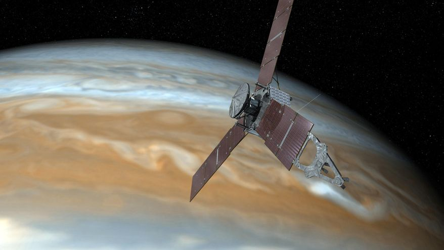 FILE - This undated image shows shows an artist's rendering of NASA's Juno spacecraft making a close pass over Jupiter. On Thursday, Feb. 23, 2017, NASA said its the spacecraft is stuck making long laps around the gas giant because of sticky valves. (NASA via AP)