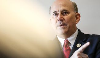 U.S. Rep. Louie Gohmert speaks during the Tyler Young Professionals Network Luncheon at Jack Ryan's in Tyler, Texas, on Tuesday, Feb. 21, 2017.   (Chelsea Purgahn/Tyler Morning Telegraph via AP)