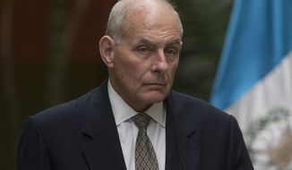 FILE - In this Feb. 22, 2017 file photo, Homeland Security Secretary John Kelly attends a news conference in Guatemala City. In a White House with multiple competing power centers, Kelly, Defense Secretary Jim Mattis and Joint Chiefs Chairman Joseph Dunford are emerging as a new force to be reckoned with. All three are have standing invitations to Trump's working dinners and were influential voices in Trump's decision-making process for a new national security adviser.  (AP Photo/Luis Soto, File)