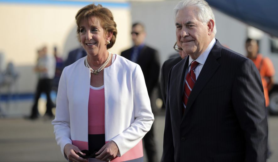 U.S. Secretary of State Rex Tillerson is welcome by U.S. ambassador Roberta Jacobson, left,as he arrives at Benito Juarez international Airport in Mexico City, Wednesday, Feb. 22, 2017. (Carlos Barria/Pool photo via AP)