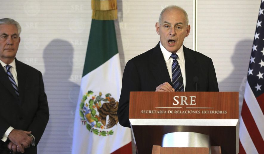 Homeland Security Secretary John Kelly, right, accompanied by Secretary of State Rex Tillerson, speaks at the Mexican Ministry of Foreign Affairs in Mexico City, Mexico, Thursday, Feb. 23, 2017.  (Carlos Barria/Pool Photo via AP)