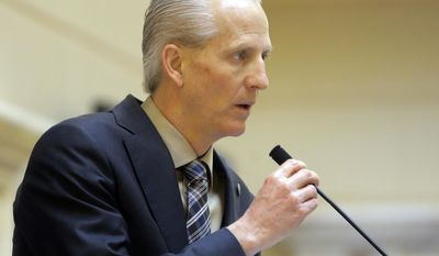 Senate President Wayne Niederhauser, R-Sandy, speaks on the Senate floor at the Utah State Capitol Thursday, Feb. 23, 2017, in Salt Lake City. Niederhauser says the higher tax on food is needed because it's more reliable than sales tax collected on other items. He says even in a recession, people buy groceries and Utah needs a stable revenue source to pay for programs that the poor rely on like Medicaid. (AP Photo/Rick Bowmer)
