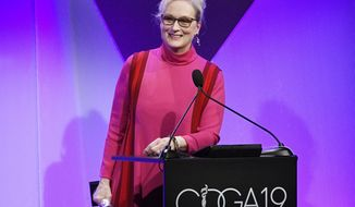 Actress Meryl Streep accepts the Distinguished Collaborator Award during the 19th Annual Costume Designers Guild Awards on Tuesday, Feb. 21, 2017, in Beverly Hills, Calif. (Photo by Chris Pizzello/Invision/AP)