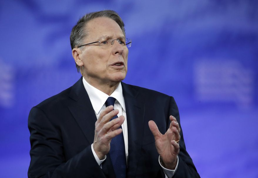 National Rifle Association (NRA) Executive Vice President and Chief Executive Officer Wayne LaPierre speaks at the Conservative Political Action Conference (CPAC), Friday, Feb. 24, 2017, in Oxon Hill, Md. (AP Photo/Alex Brandon) ** FILE **
