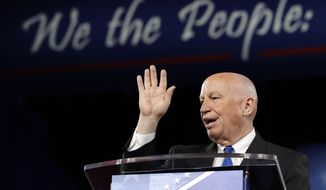 House Ways and Means Committee Chairman Rep. Kevin Brady, R-Texas speaks at the Conservative Political Action Conference (CPAC), Friday, Feb. 24, 2017, in Oxon Hill, Md. (AP Photo/Alex Brandon)