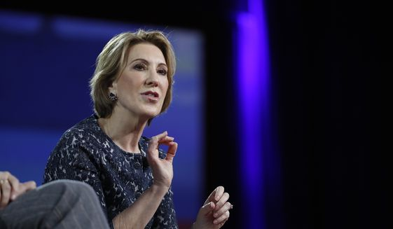 Carly Fiorina speaks at the Conservative Political Action Conference (CPAC) in Oxon Hill, Md., on Feb. 24, 2017. (Associated Press) **FILE**