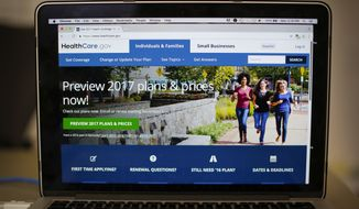 The HealthCare.gov 2017 web site home page is seen on a laptop in Washington, in this Oct. 24, 2016, file photo. (AP Photo/Pablo Martinez Monsivais, File)
